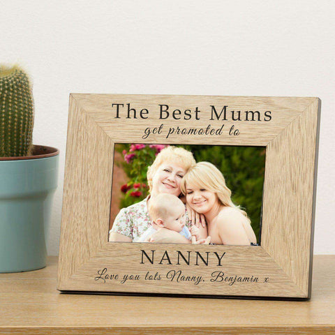 Personalised The Best Mums Get Promoted To Wooden Engraved Photo Frame from Pukkagifts.uk