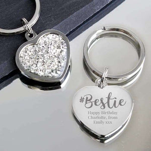 Personalised #Bestie Diamante Heart Keyring from Pukkagifts.uk