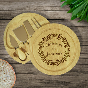 Personalised Wreath Christmas Family Cheese Board from Pukkagifts.uk