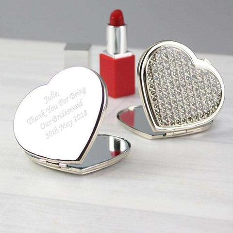 Personalised Diamante Heart Compact Mirror from Pukkagifts.uk