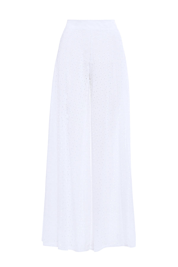 White Embroidered Trousers