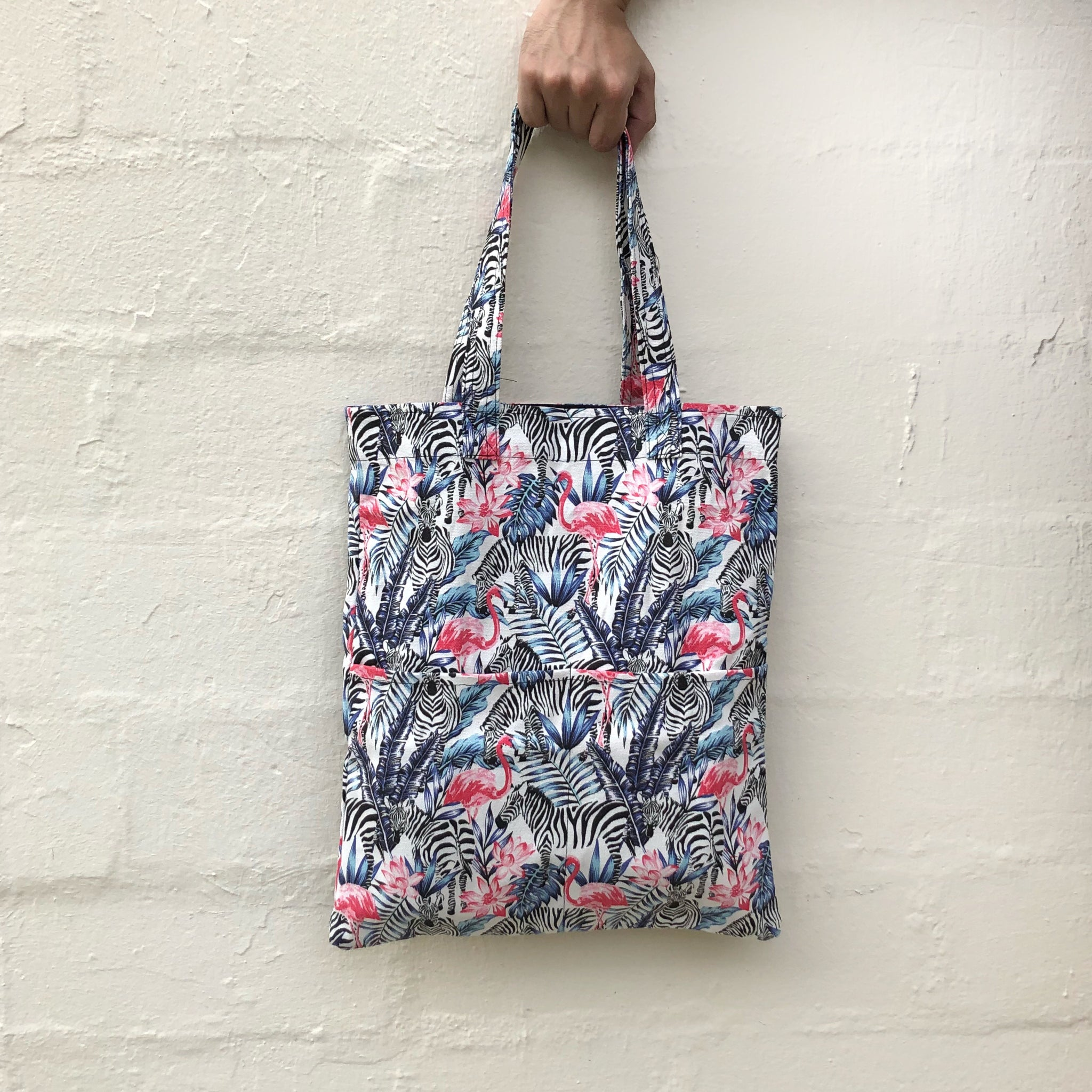 Double Pocket Tote - Zebra Flamingo