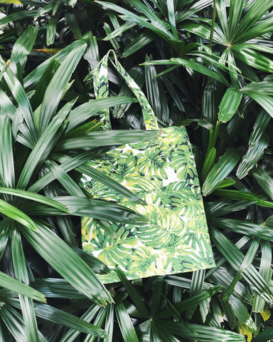Double Pocket Tote - Monstera Plant (Green)