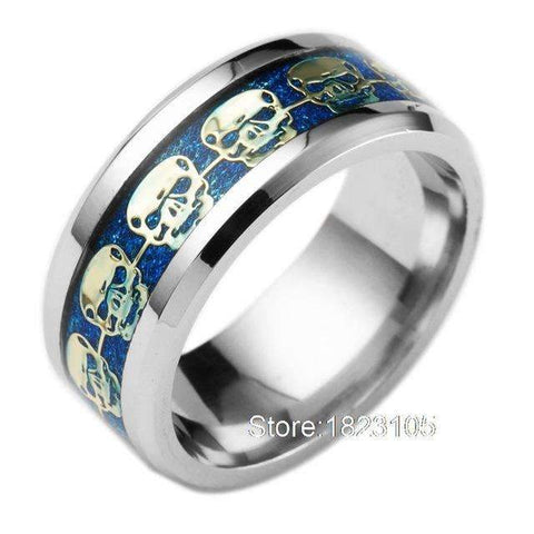 Image of Skull Filled Pattern Ring