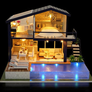 DIY 3D Miniature Wooden House with Furniture