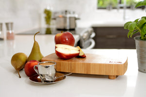 "THE MEDIUM BAMBOO CHOPPING BLOCK WITH FEET BY KOOQ (12"" X 6"" INCHES)"