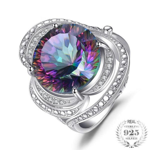 15Ct Genuine Rainbow Fire Mystic Topaz Solid 925 Sterling Silver Ring Charm Vintage Gift Jewelry To Best Friend Brand New - Vera Nova Jewelry