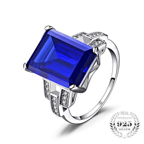 Bodacious Luxury Emerald Cut 9.1Ct Created Blue Sapphire Genuine 925 Sterling Silver Cocktail Rings - Vera Nova Jewelry