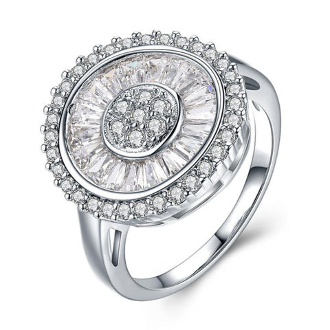 Captivating Round Aaa Zirconia Ring Made With White Gold Plated - Vera Nova Jewelry