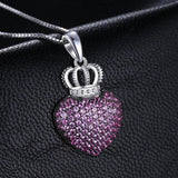 Compelling Heart Crown 0.8Ct Created Pink Sapphire Pave 925 Sterling Silver Pendant Necklace - Vera Nova Jewelry