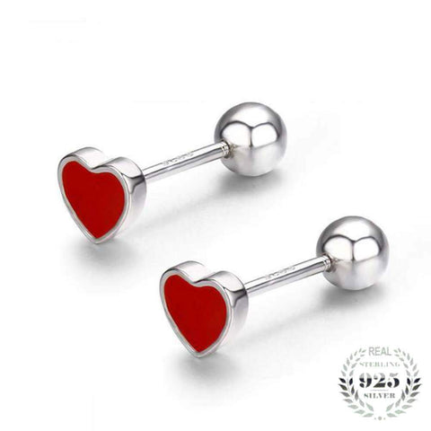 Delightful Cute Small Red Peach Heart 925 Sterling Silver Screw Stud Earrings - Vera Nova Jewelry