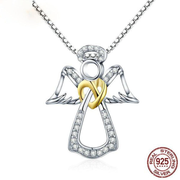 Elegant Guardian Angel Heart Dazzling Cz Authentic 925 Sterling Silver Pendant Necklace - Vera Nova Jewelry