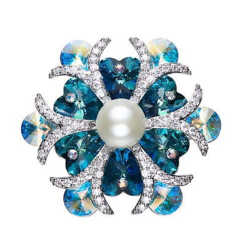 Elegant Snowflake Simulated Pearl Brooch Made With Swarovski Elements - Vera Nova Jewelry