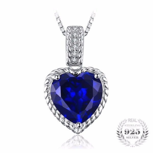 Empyrean 2.8Ct Heart-Shape Created Sapphire 925 Sterling Silver Pendant Necklace - Vera Nova Jewelry