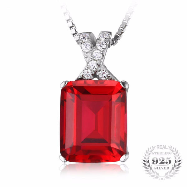 Extravagant 6.1Ct Created Red Ruby 925 Sterling Silver Pendant Necklace - Vera Nova Jewelry