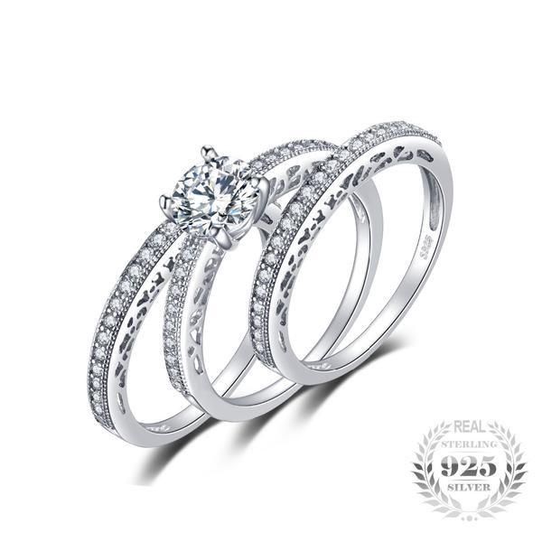 Extravagant Vintage 1.5Ct 3 Pcs Bridal Sets 925 Sterling Silver Rings - Vera Nova Jewelry