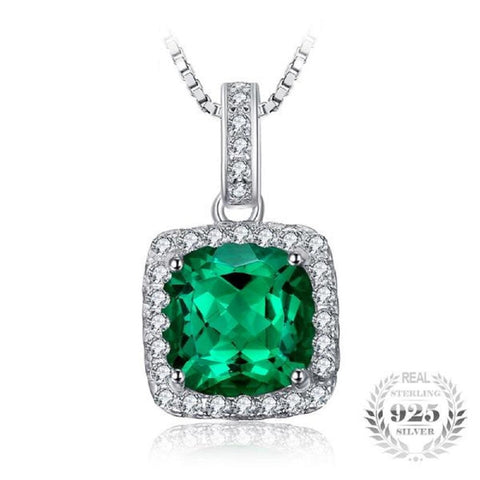 Fancy 2.16Ct Square Created Emerald Sterling Silver Pendant Necklace - Vera Nova Jewelry