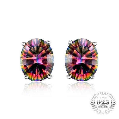 Fiery Oval Cut 1.5Ct Fire Rainbow Mystic Topaz 925 Sterling Silver Stud Earrings-EARRINGS-Vera Nova Jewelry