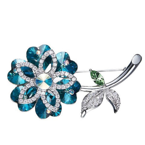 Flowers Brooches Made With Swarovski Elements-BROOCHES & PINS-Vera Nova Jewelry