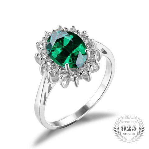 Glamourous 2.5Ct Created Emerald Rings Made With Solid 925 Sterling Silver-RINGS-Vera Nova Jewelry
