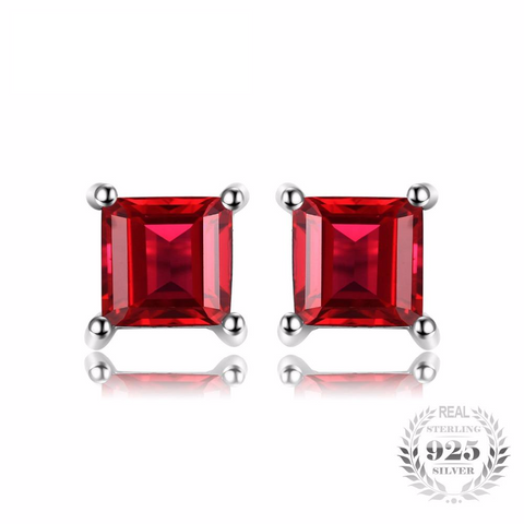Impeccable Princess Cut Red Garnet 925 Sterling Silver Stud Earrings-EARRINGS-Vera Nova Jewelry