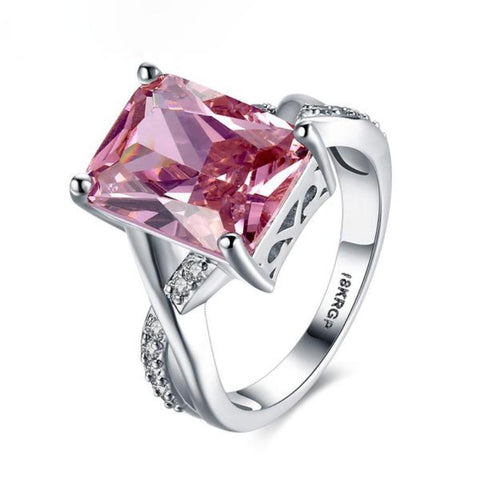 Magnificent Rectangular Shape Created Pink Sapphire 18K Platinum Plated Rings - Vera Nova Jewelry