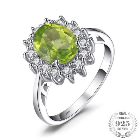 2.74Ct Princess Diana William Kate Middleton'S Natural Green Peridot Engagement Ring 925 Sterling Silver For Women - Vera Nova Jewelry