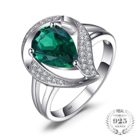 1.7Ct Lab-Created Emerald Ring For Women Solid 925 Sterling Silver Jewelry Wedding Charm Ring Gift For Girls 2018 New - Vera Nova Jewelry