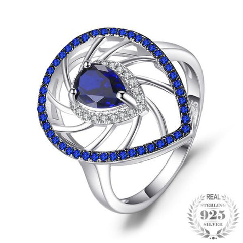 1.3Ct Pear Shape Lab-Created Sapphire & Blue Spinel Exaggerated Party Rings For Women 925 Sterling Silver Fine Jewelry - Vera Nova Jewelry