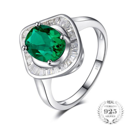 2Ct Lab-Created Emerald Luxury Halo Ring 925 Sterling Silver Jewelry Fashion Ring For Women Fine Jewelry - Vera Nova Jewelry