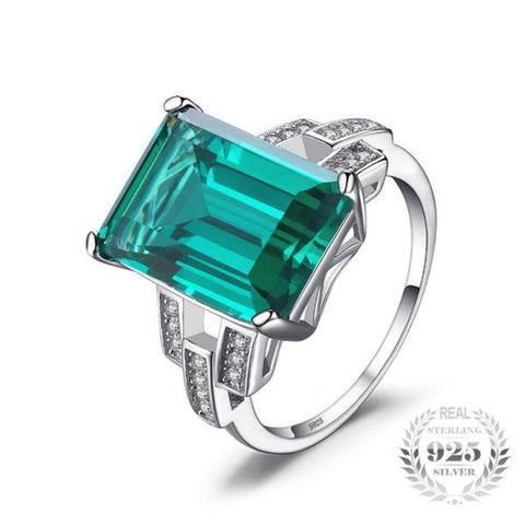 Resplendent Luxury 5.92 Ct Created Emerald Rings Made With 925 Sterling Silver-RINGS-Vera Nova Jewelry