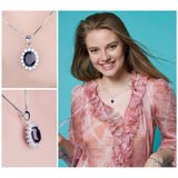 Royal Oval 3.2Ct Lab-Created Blue Sapphire 925 Sterling Silver Pendant Necklace-Necklaces-Vera Nova Jewelry