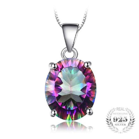 Splendid Oval 4.74Ct Rainbow Fire Mystic Topaz 925 Sterling Silver Pendant Necklace-Necklaces-Vera Nova Jewelry