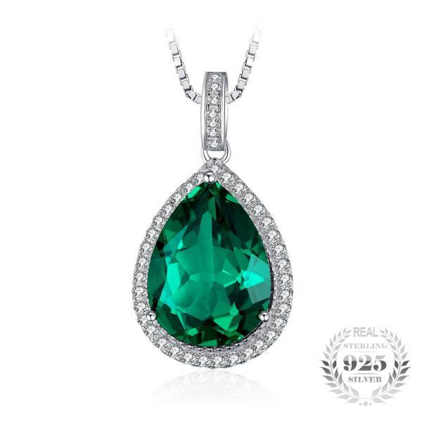 Splendiferous 7.4Ct Lab-Created Emerald 925 Sterling Silver Pendant Necklace-Necklaces-Vera Nova Jewelry
