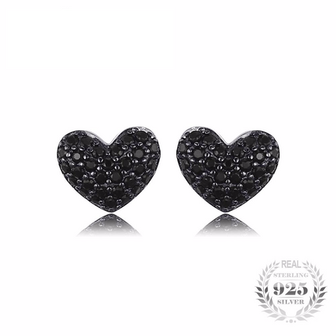Splendorous Heart Shaped 4.55Ct Natural Black Spinel 925 Sterling Silver Stud Earrings-EARRINGS-Vera Nova Jewelry