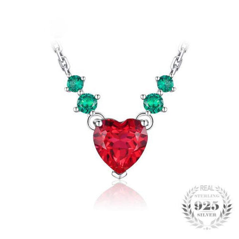 Timeless Beauty Heart 2.8Ct Green Nano Created Emerald And Red Created Ruby 925 Sterling Silver Pendant Necklace-Necklaces-Vera Nova Jewelry