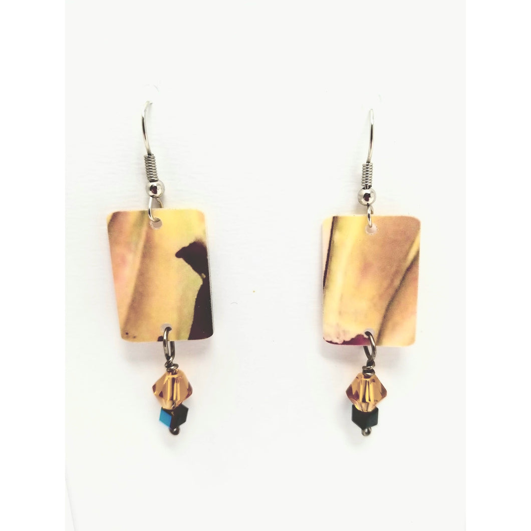 Encaustic Paper Coated Overlay Earrings - Ella Leather