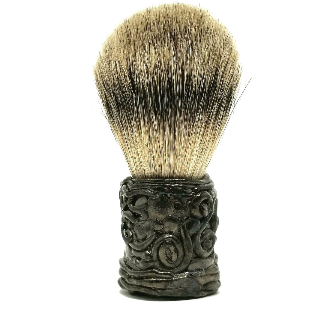 Hematite Shaving Free Form Badger Brush - Ella Leather