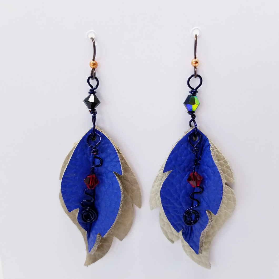 Leather Leaf Earrings Off White and Blue - Ella Leather