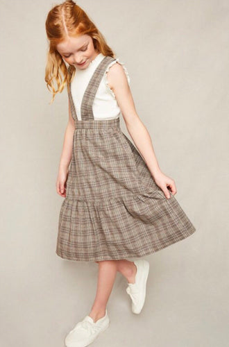GIRLS- Mocha Plaid Overall Dress
