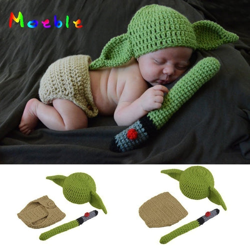Latest Yoda Style Newborn Photography Baby Hat Crochet Clothing Set Knitted Infant Boys Photo Fotografia Props Cartoon Costume - flybabywear
