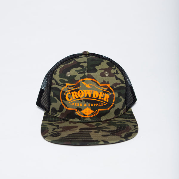 David Crowder Feed and Supply Co. camo trucker hat with orange print.