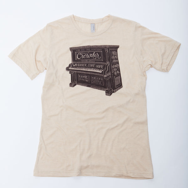 Tan David Crowder piano t-shirt.
