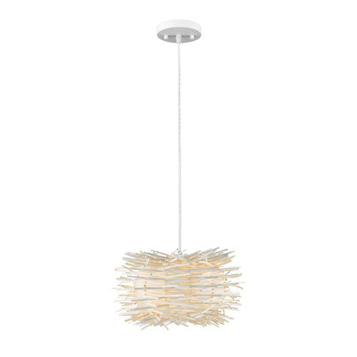 1 Light Contemporary Pendant with White Willow Shade
