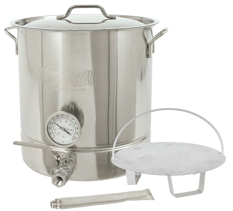 Bayou Classic Six-Piece 16 Gallon Stainless Steel Home Brewing Brew Kettle Set - Peazz.com