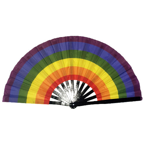 Gay Pride Rainbow Giant Bamboo & Cloth Hand Fan