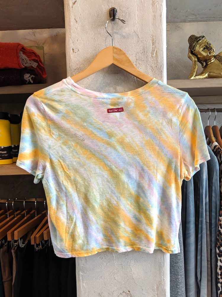 Boxy Crop Tee in Rainbow Sherbert by Hard Tail