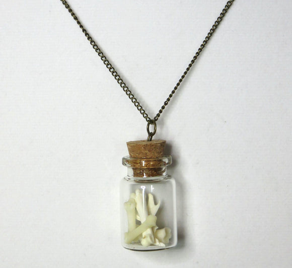 Bone Necklace ~ Bone Art ~ Glass Bottle Pendant ~ Wiccan Punk Goth Indie