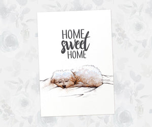 "Sleeping Maltese Dog art print with quote ""Home sweet home"""