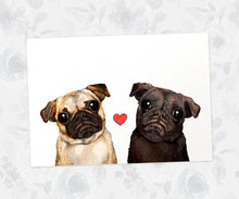 Pug Love Couple Art Print | Dog Art Prints